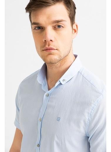 Avva Erkek  Düz Düğmeli Yaka Slim Gömlek A01S2210 Mavi